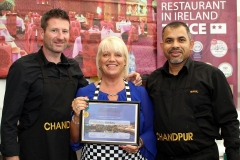 Michael Doran, Susan and Rana Miah, Chandpur Indian Restaurant who won Gold for the 8th year in a row in the Passion to Inspire Competition 2018